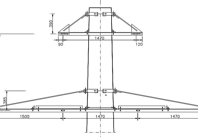 CI (CSI+CII) - Coronament orizontal de întindere dublu circuit