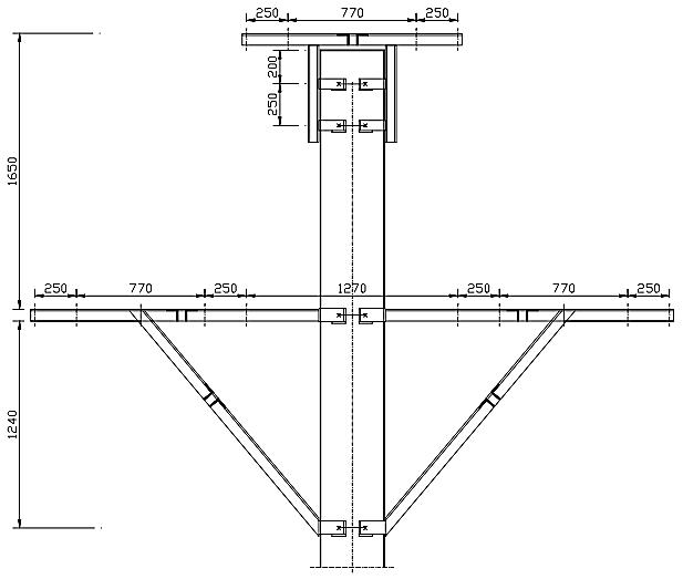 CS (CSI+CSS ) - Coronament orizontal de susținere dublu circuit